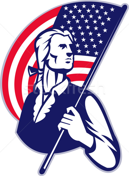 Patriot Minuteman With American Stars and Stripes Flag Stock photo © patrimonio