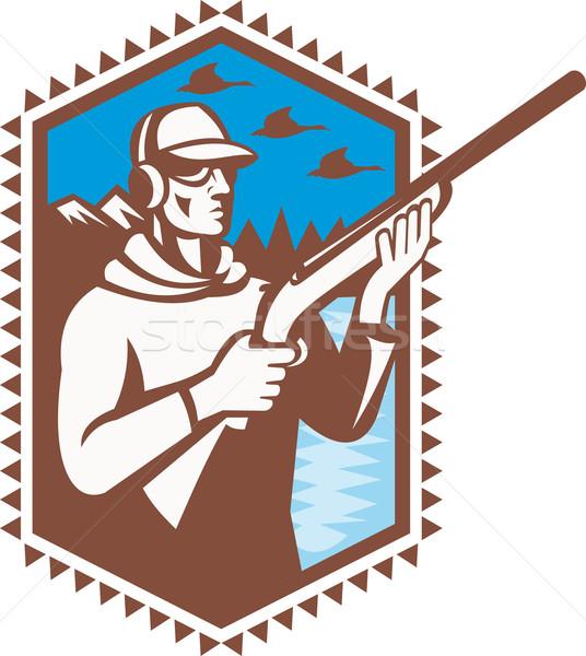 Hunter With Shotgun Rifle Duck Shooting Retro Stock photo © patrimonio