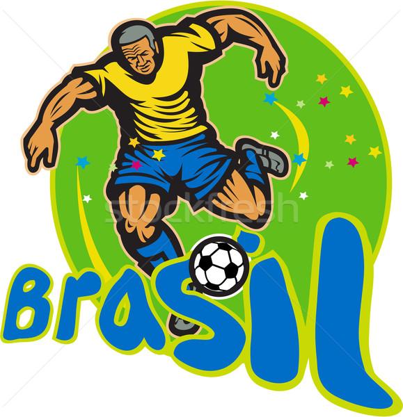 Brazília futballista rúg labda retro illusztráció Stock fotó © patrimonio