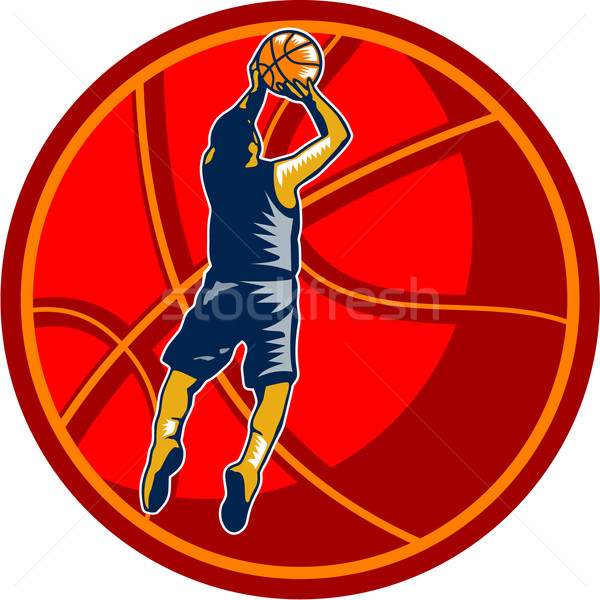 Basketball Player Jump Shot Ball Woodcut retro Stock photo © patrimonio