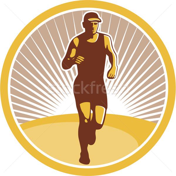 Stock photo: Marathon Runner Running Front Circle Retro
