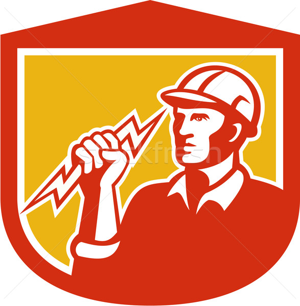 Electrician Clutching Lightning Bolt Shield Stock photo © patrimonio