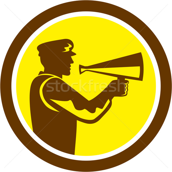 Movie Director Bullhorn Side Circle Retro Stock photo © patrimonio