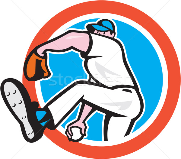 Baseball Pitcher Throwing Ball Circle Cartoon Stock photo © patrimonio