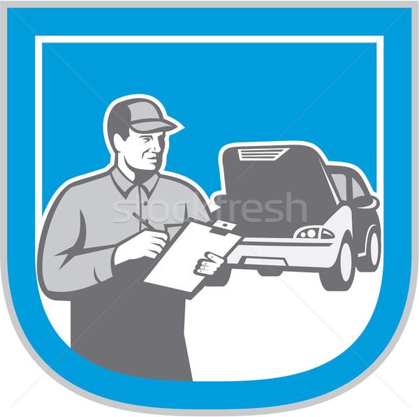 Mecánico de automóviles automóvil reparación del coche comprobar retro ilustración Foto stock © patrimonio