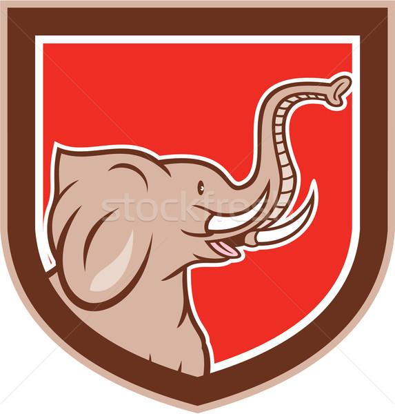 Fil kafa yan kalkan karikatür örnek Stok fotoğraf © patrimonio