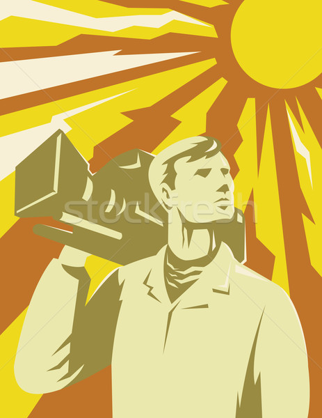 Cameraman Film Crew With Video Camera Stock photo © patrimonio