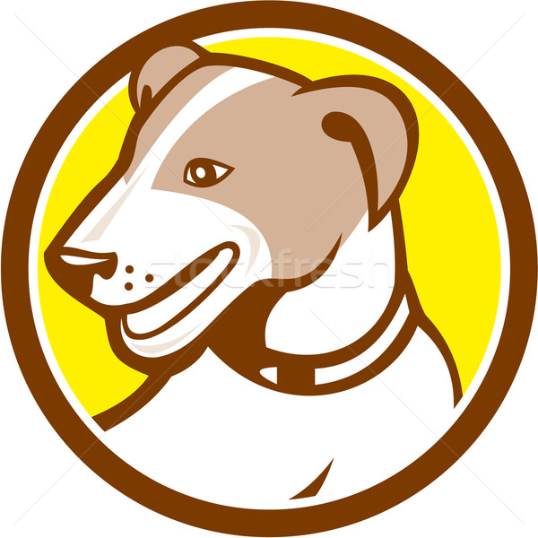 Jack russell terrier tête cercle cartoon illustration chien Photo stock © patrimonio