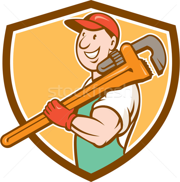 Plumber Smiling Holding Monkey Wrench Crest Stock photo © patrimonio