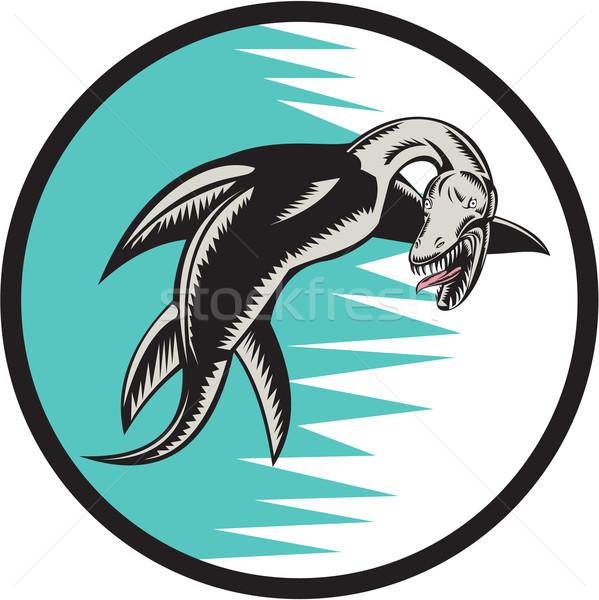 Morza wąż kółko ilustracja pływanie zestaw Zdjęcia stock © patrimonio