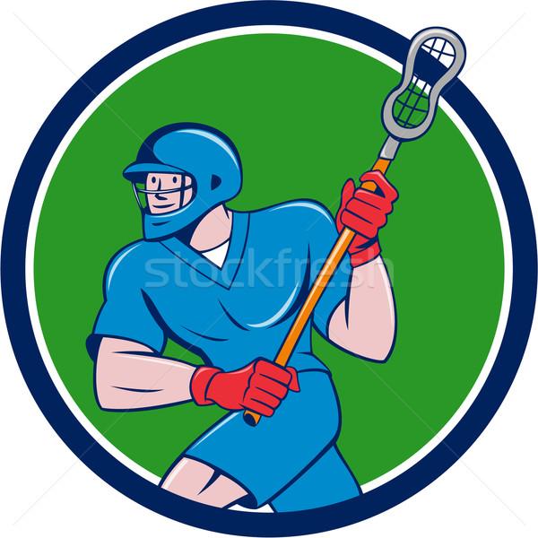 Lacrosse Player Crosse Stick Running Circle Cartoon Stock photo © patrimonio