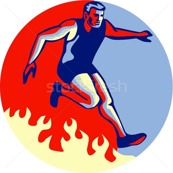 Akadály versenyzés ugrik tűz retro illusztráció Stock fotó © patrimonio