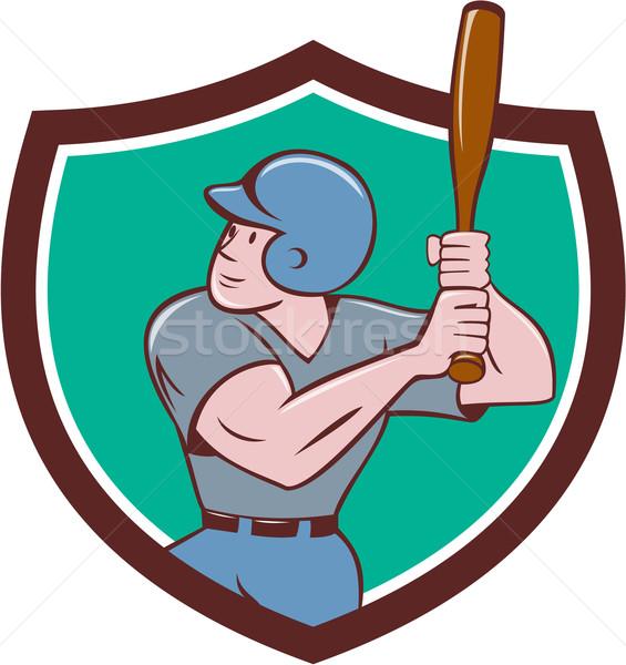 Baseball Player Batting Crest Cartoon Stock photo © patrimonio
