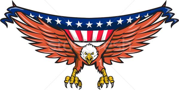 American Eagle Swooping USA Flag Retro Stock photo © patrimonio