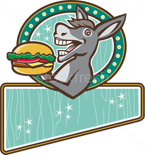 Donkey Mascot Serve Burger Rectangle Oval Retro Stock photo © patrimonio