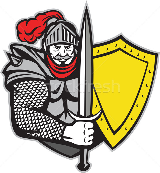 Knight Full Armor Open Visor Sword Shield Retro Stock photo © patrimonio