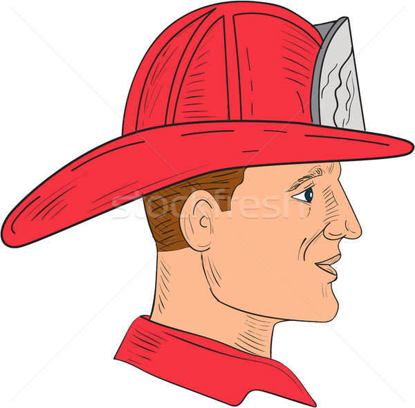 Bombeiro bombeiro vintage capacete desenho esboço Foto stock © patrimonio