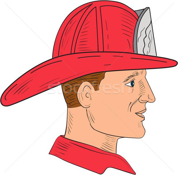 Brandweerman brandweerman vintage helm tekening schets Stockfoto © patrimonio