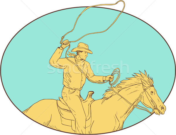 Rodeo Cowboy Lasso Horse Circle Drawing Stock photo © patrimonio