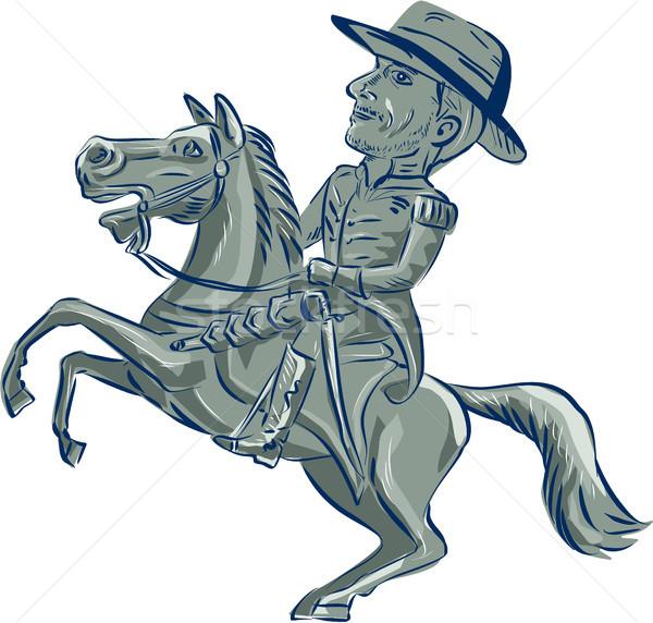 американский кавалерия офицер верховая езда лошади Cartoon Сток-фото © patrimonio