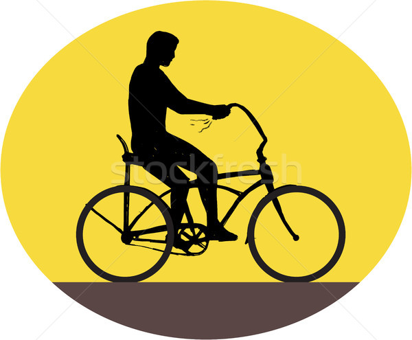Man Riding Easy Rider Bicycle Silhouette Oval Retro Stock photo © patrimonio