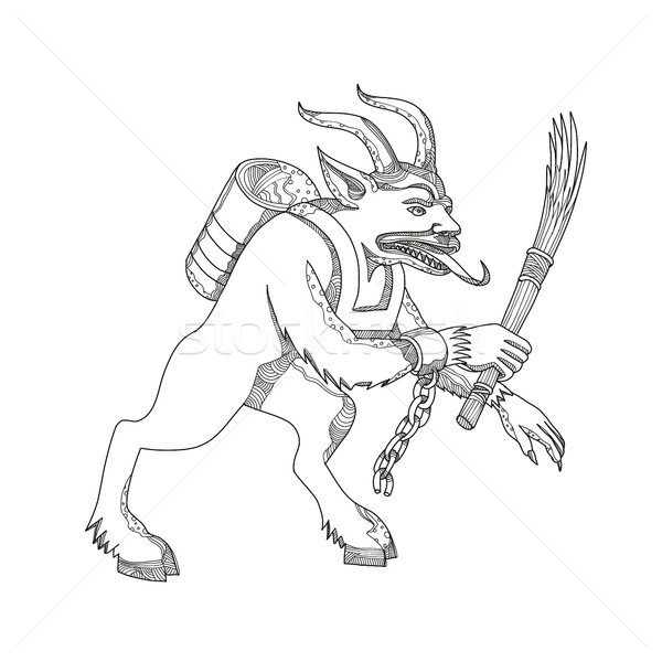 Krampus With Stick Doodle Art Stock photo © patrimonio