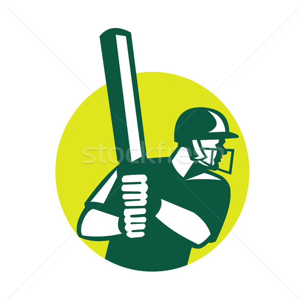 Cricket icon retro retro-stijl illustratie kant Stockfoto © patrimonio