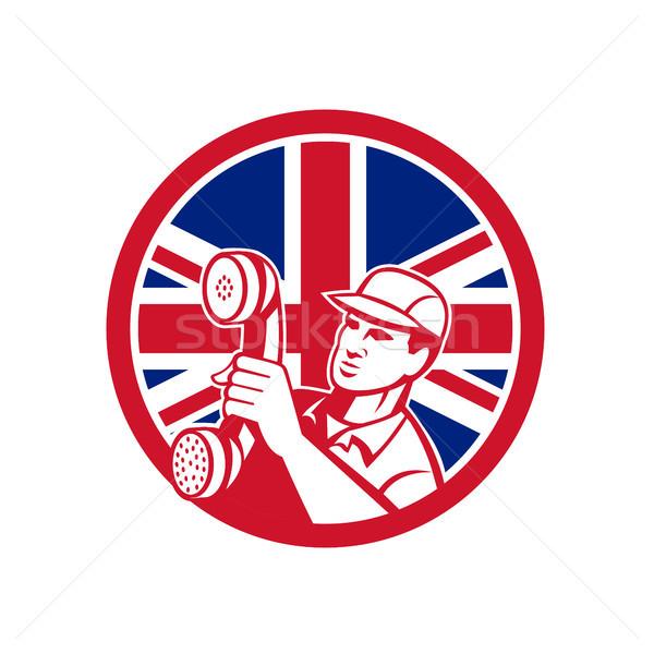 Brytyjski telefon instalacja naprawy technik ikona Zdjęcia stock © patrimonio