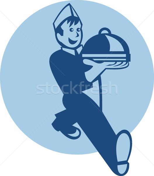 Stock fotó: Pincér · szakács · szakács · pék · adag · étel