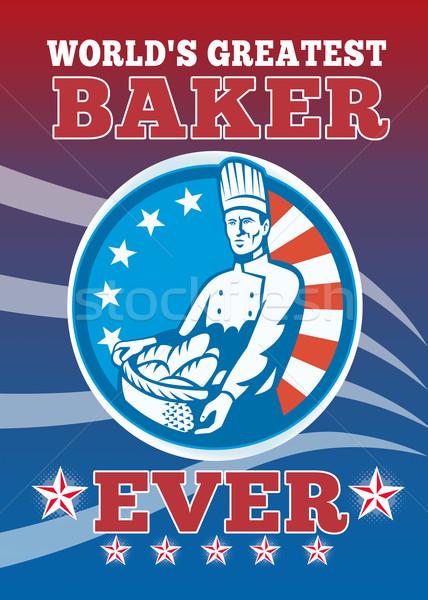 Grootst bakker wenskaart poster illustratie amerikaanse Stockfoto © patrimonio