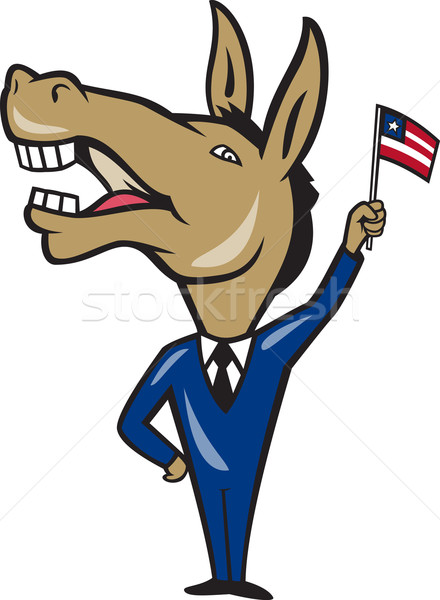 Democrat Donkey Mascot American Flag Stock photo © patrimonio