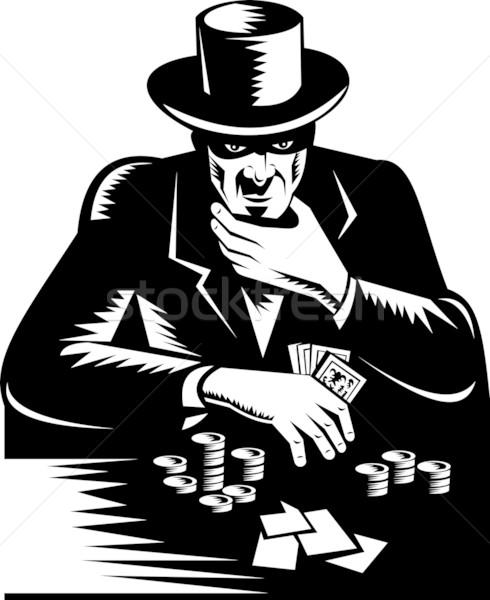 Poker oyuncu kumarbaz kumar Retro örnek Stok fotoğraf © patrimonio