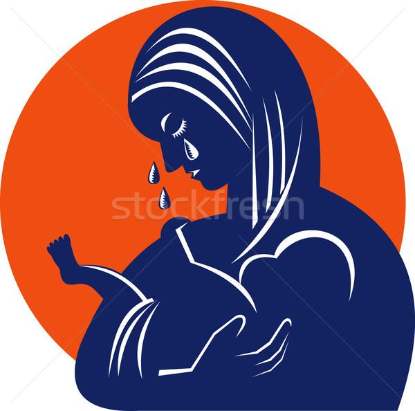 Anya gyermek könnyek retro illusztráció baba Stock fotó © patrimonio