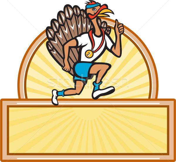 Turkey Run Runner Side Cartoon Isolated Stock photo © patrimonio