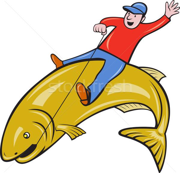Halász lovaglás ugrik pisztráng hal illusztráció Stock fotó © patrimonio