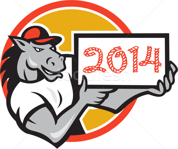 Year of Horse 2014 Showing Sign Cartoon Stock photo © patrimonio