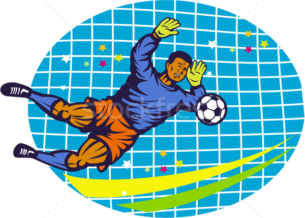 Goalie Soccer Football Player Retro Stock photo © patrimonio