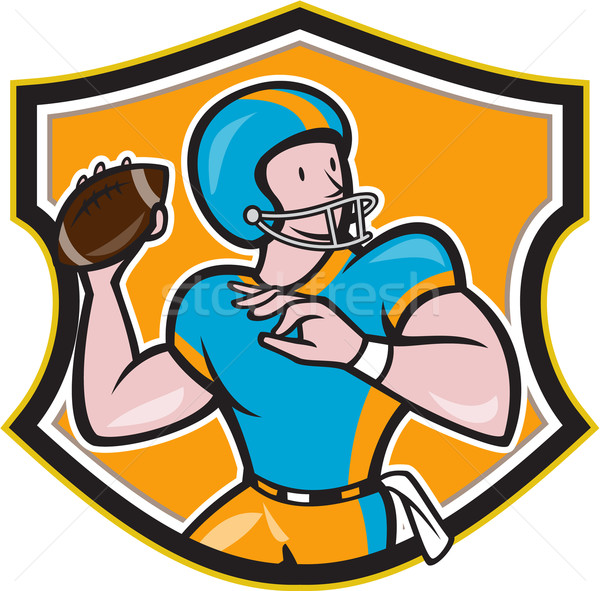 American Football Quarterback Throw Shield Cartoon Stock photo © patrimonio