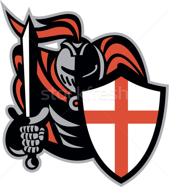 English Knight With Sword England Shield Retro Stock photo © patrimonio
