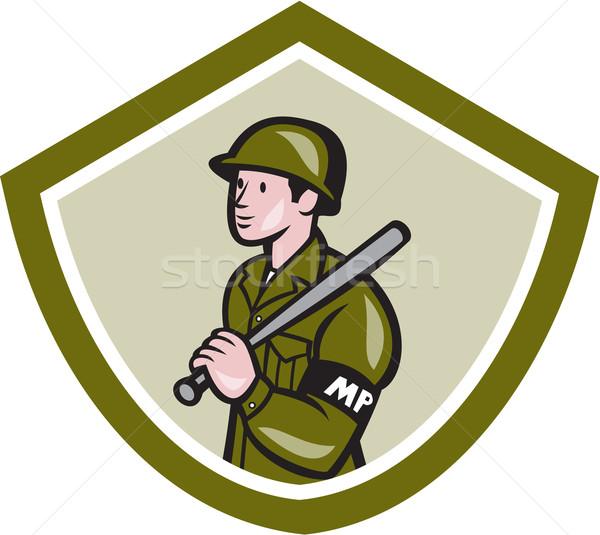 Military Police With Night Stick Baton Shield Stock photo © patrimonio
