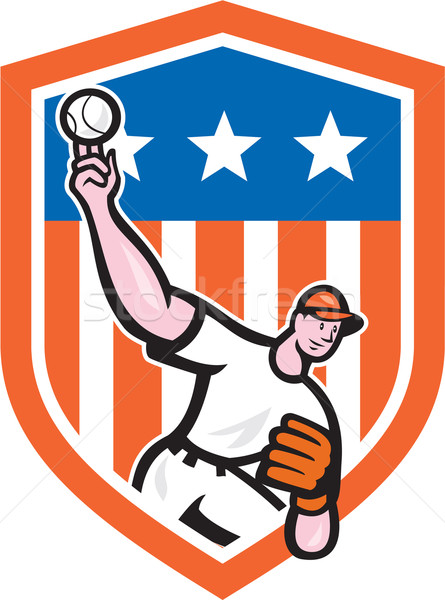 Baseball Pitcher Throw Ball Shield Cartoon Stock photo © patrimonio