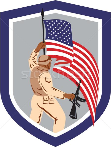солдата военных флаг винтовка щит Сток-фото © patrimonio