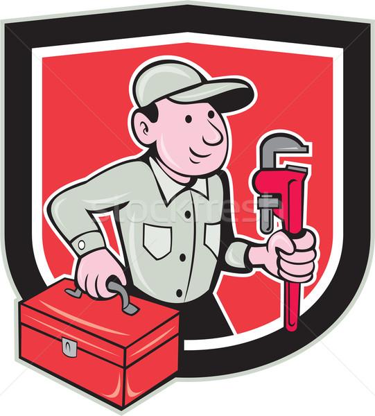 Plumber Toolbox Monkey Wrench Shield Cartoon Stock photo © patrimonio
