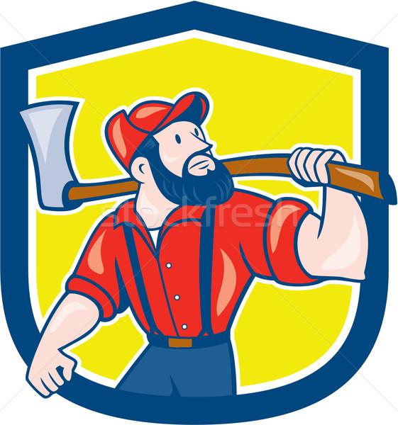 Lenhador machado escudo desenho animado ilustração Foto stock © patrimonio
