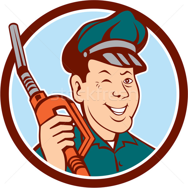 Gas Attendant Nozzle Winking Circle Cartoon Stock photo © patrimonio