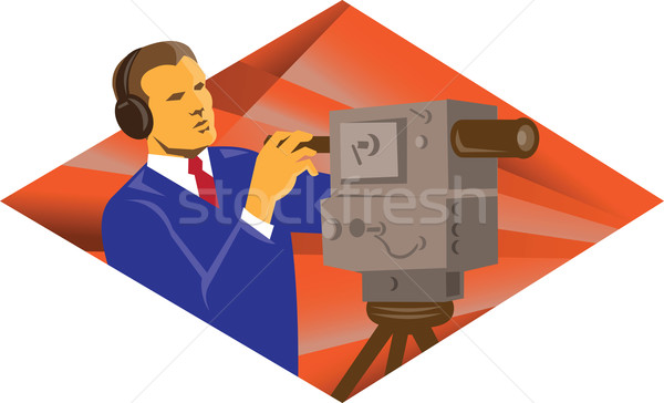 Cameraman Operator With Vintage Video Camera Stock photo © patrimonio