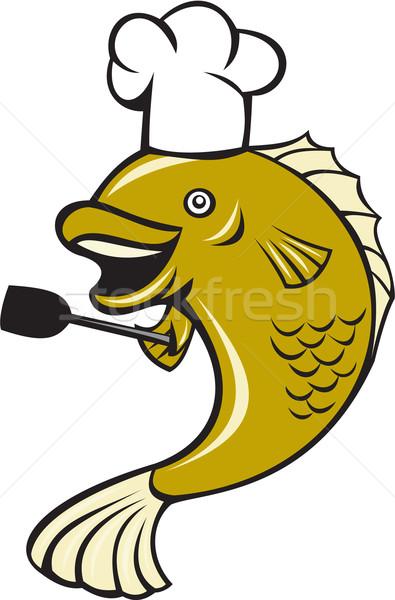 Szakács szakács basszus hal szedőlapát rajz Stock fotó © patrimonio