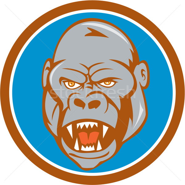 Angry Gorilla Head Circle Cartoon Stock photo © patrimonio