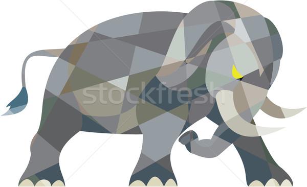 Elefante lado baixo polígono estilo ilustração Foto stock © patrimonio