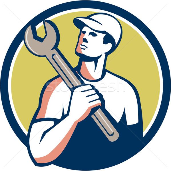 Handlowiec mechanik klucz kółko retro ilustracja Zdjęcia stock © patrimonio